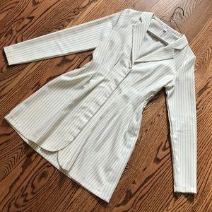 Misguided white blazer dress with black stripes.